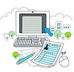 Desktop pc with documents