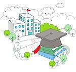 Graduation cap against education building
