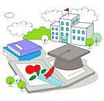Graduation cap on picture frame against education building