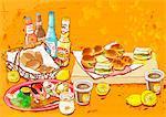 Illustration of fast food meal