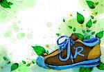 Shoe On Flora Background