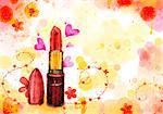 Lipstick On Flora Background