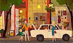 Family Standing Beside Car Holding Bags