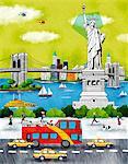 Usa, New York, New York City, Statue Of Liberty An Bridge