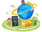 Children With Passport And Globe