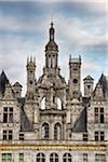 Close up of towers at Chambord Castle (Chateau de Chambord). UNESCO World Heritage Site. Chambord, Loir-et-Cher, Loire Valley, France.