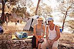 Croatia, Dalmatia, Couple on camping site, portrait