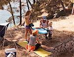 Croatia, Dalmatia, Parents with children on camping site