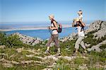 Croatia, Paklenica Family hiking in mountain landscape