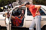 Croatia, Dalmatia, Woman in Hippie Look talking to man