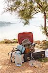 Croatia, Dalmatia, At the seaside, luggage in foreground
