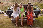 Croatia, Dalmatia, Young women on the party outdoors, having fun