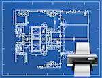 printer blueprint illustration business design concept graphic