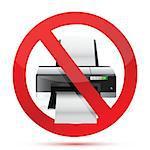 printer do not use sign illustration design over white