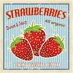 Strawberries vintage grunge retro poster, vector illustration