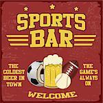 Sport bar vintage grunge poster, vector illustrator