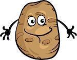 Cartoon Illustration of Funny Comic Potato Vegetable Food Character