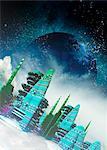 Alien city, computer artwork.