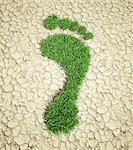 Ecological footprint, conceptual computer artwork.