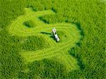 Green economy, conceptual computer artwork.