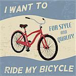 Bicycle vintage grunge poster, vector illustration