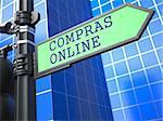 Internet Concept. Inscription Online Shopping on Sign (Portuguese) on Blue Background.