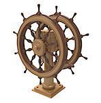 Ship wheel on a white background