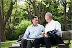 Businessmen Talking on Park Bench, Mannheim, Baden-Wurttemberg, Germany