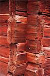 Corner of red wooden cottage