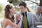 Bride And Groom Drinking Champagne, Croatia, Europe
