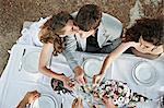 Wedding Couple On Wedding Table Outdoors, Croatia, Europe