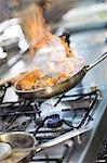 Flambeing Food In Pan