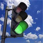 Green traffic light, artwork.