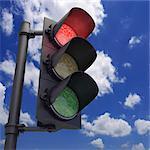 Red traffic light, artwork.