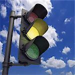Amber traffic light, artwork.