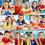 Collage of diligent schoolchildren in school