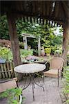 Green garden wth garden furniture