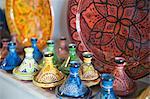 Ceramics for sale, Essaouira, formerly Mogador, Morocco, North Africa, Africa