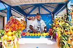 Fresh orange juice vendor, Essaouira, formerly Mogador, Morocco, North Africa, Africa