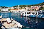 Hvar harbour, Hvar Island, Dalmatian Coast, Adriatic, Croatia, Europe