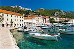 Hvar harbour and Fortica (Spanish Fortress), Hvar Island, Dalmatian Coast, Adriatic, Croatia, Europe