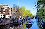 Boats on Brouwersgracht, Amsterdam, Netherlands, Europe