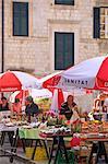 Gundulic Square Market, Dubrovnik, Croatia, Europe