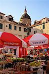 Market with statue of Ivan Gundulic, Dubrovnik, Croatia, Europe