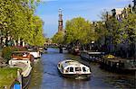 Westerkerk Tower and Prinsengracht Canal, Amsterdam, Netherlands, Europe