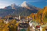 View over Berchtesgaden and the Watzmann Mountain, Berchtesgaden, Bavaria, Germany, Europe