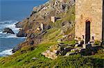 Abandoned Tin Mine near Botallack, UNESCO World Heritage Site, and rocky coast, Cornwall, England, United Kingdom, Europe