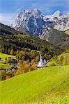 View of Ramsau in autumn, near Berchtesgaden, Bavaria, Germany, Europe