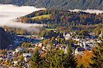 View over Berchtesgaden in autumn, Berchtesgaden, Bavaria, Germany, Europe