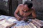 Man writing lontar manuscripts, Bali, Indonesia, Southeast Asia, Asia